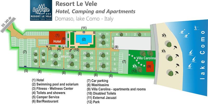 mappa del Resort Le Vele Domaso Lago di Como